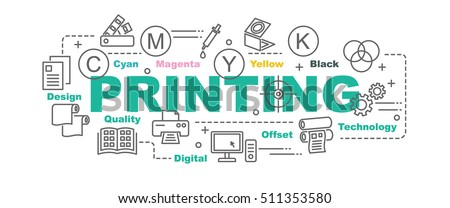 printing vector banner design concept, flat style with thin line art printing icons on white background Royalty-Free Stock Photo #511353580