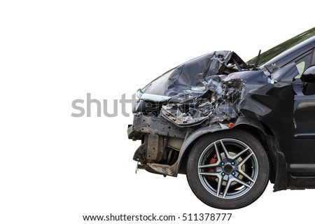 Front of black car get damaged by accident on the road. Isolated on white background. Saved with clipping path #511378777
