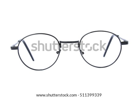 Modern fashionable spectacles isolated on white background, Perfect reflection, Glasses #511399339