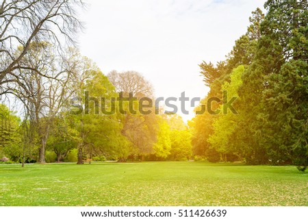 Beautiful park scene in public park with green grass field, green tree plant and a partly cloudy blue sky #511426639