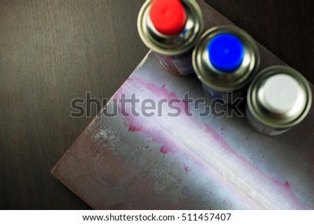 DPI or PT test weldment for finding defect