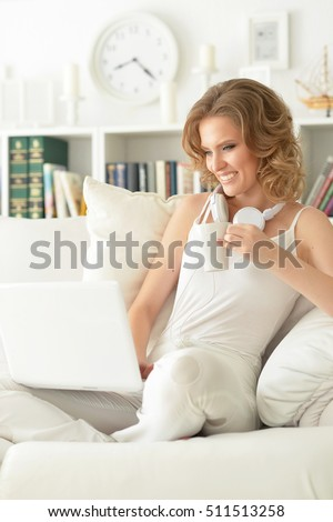 young woman using  laptop #511513258