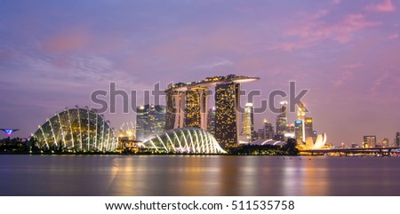 Singapore - Jul 4, 2015. Night view of Marina Bay in Singapore. Trade in Singapore has benefited from the extensive network of trade agreements Singapore has passed. #511535758