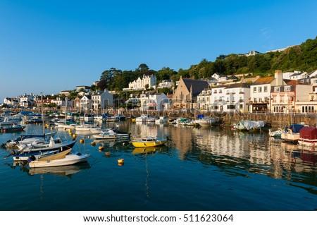 Village of Saint Aubin, Jersey, Channel Islands, UK on early summer morning. Royalty-Free Stock Photo #511623064