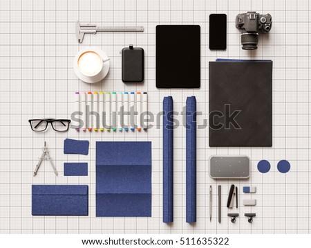 Branding stationery mockup scene. 3D illustration. High quality #511635322