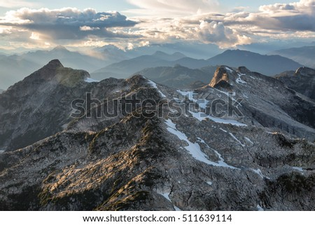 Beautiful aerial landscape view on the rocky mountains during a cloudy sunset. Taken near Vancouver, British Columbia, Canada. #511639114