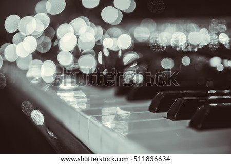 Piano background with bokeh lights; christmas background; Vakentine day backfround; Wedding invitation backround