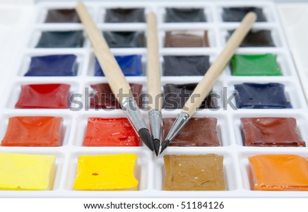 Water colour paints and brushes #51184126