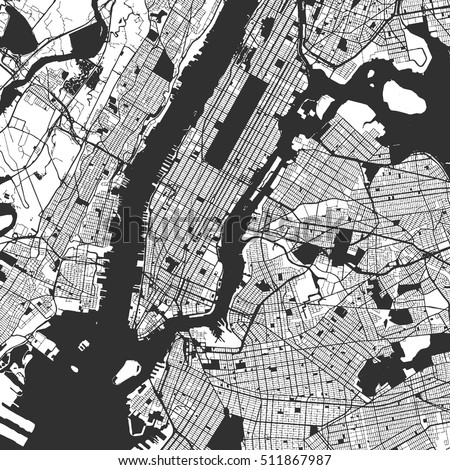 New York City Manhattan One Color Map, Vector Outline Version, ready for color change, Artprint