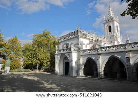 BEJA, PORTUGAL: The Regional Museum and the Statue of the Queen Dona Leonor de Avis on the left hand side #511891045