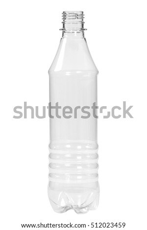 New, clean, empty plastic bottle on white background #512023459