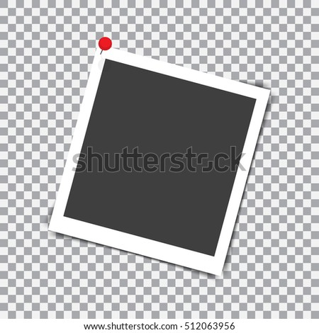 Retro photo frame with shadow on red pin on a transparent background #512063956