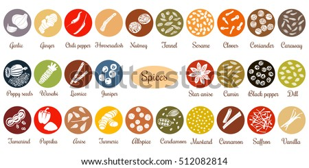 Big icon set of popular culinary spices white silhouettes. Color background. Ginger, chili pepper, garlic, nutmeg, anise etc. For cosmetics, store, spa, health care, logo design, price tag label #512082814