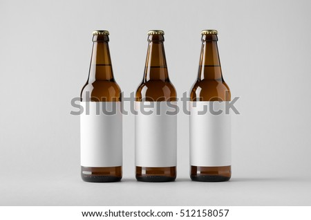 Beer Bottle Mock-Up - Three Bottles. Blank Label Royalty-Free Stock Photo #512158057