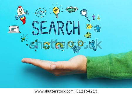 Search concept with hand on blue background