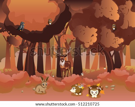 Stylized cartoon autumn forest landscape with shrubs, trees and animals. #512210725