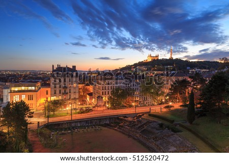 Amphitheatre des Troi Gaules, Croix Rousse and Vieux Lyon with Fourviere Basilica in the evening. Lyon, France #512520472