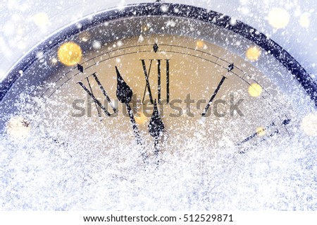 Countdown to midnight. Retro style clock counting last moments before Christmas or New Year. #512529871