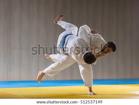 Judo sport training in the sports hall Royalty-Free Stock Photo #512537149