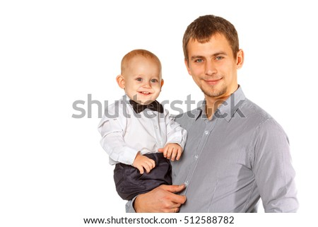 Happy portrait of the father and son, on white background   #512588782