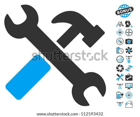 Hammer and Wrench pictograph with bonus airdrone service clip art. Glyph illustration style is flat iconic blue and gray symbols on white background.