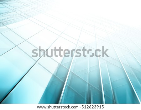 Panoramic and perspective wide angle view to steel light blue background of glass high rise building skyscraper commercial modern city of future. Business concept of success industry tech architecture #512623915