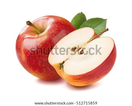 Red apple whole and halves piece isolated on white background