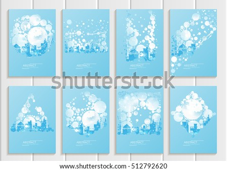 Stock vector set of brochures design Christmas templates, abstract circles, winter landscape New Year glow full moon night background for printed material, element, web site, card, covers, wallpaper #512792620
