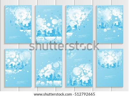 Stock vector set of brochures design Christmas templates, abstract circles, winter landscape New Year glow full moon night background for printed material, element, web site, card, covers, wallpaper #512792665