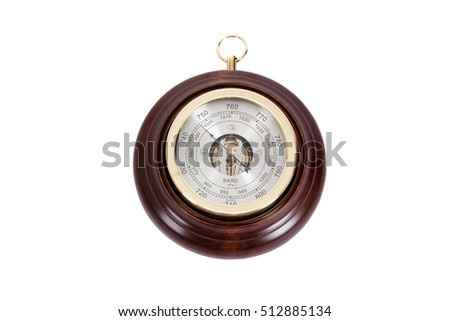 Vintage wooden wall barometer on a white background #512885134