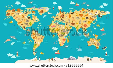 Animal map for kid. World vector poster for children, cute illustrated. Preschool cartoon globe with animals. Oceans and continent: South America,Eurasia,North America,Africa, Australia.Baby world map #512888884