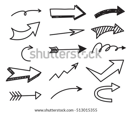 Set of arrow doodle on white background Royalty-Free Stock Photo #513015355