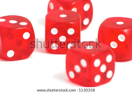 Five red casino dices on the white background #5130358