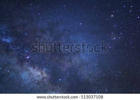 Close-up of Milky way galaxy with stars and space dust in the universe, Long exposure photograph, with grain. #513037108