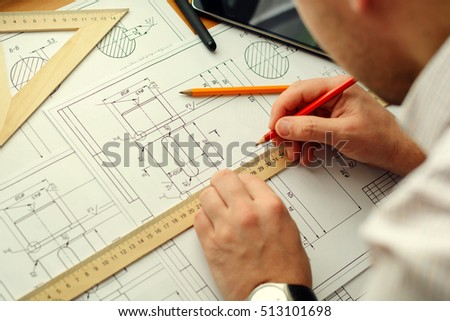 Architect workplace - architectural project, blueprints, ruler. Construction concept. Engineering tools. #513101698