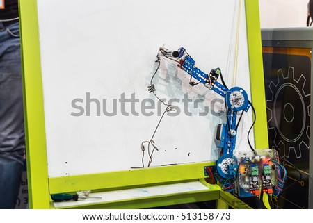 """Moscow, Russia, November 4, 2016: The 4rd International Exhibition of Robotics and advanced technologies """"Robotics Expo"""" in Moscow. Exposure robots and new technologies #513158773"""