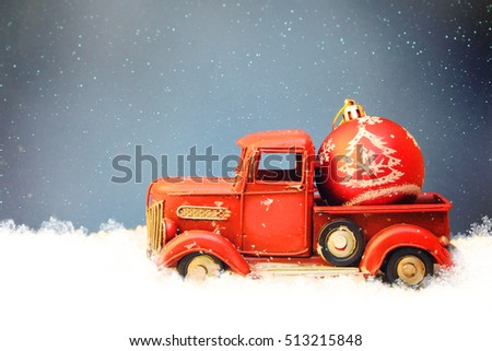 Red Truck With Christmas Decoration, Family Holiday