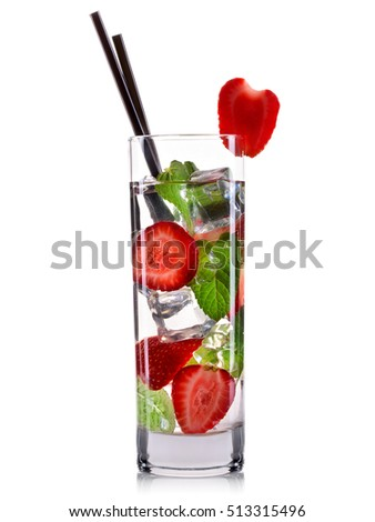 Strawberry mojito cocktail in tall glass isolated on white background. #513315496