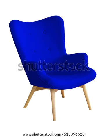 Modern textile blue chair isolated on white background #513396628