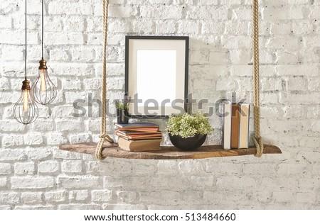 brick wall drift wood shelves and frame concept decor, modern lamp #513484660