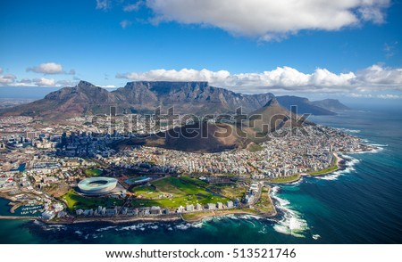 Aerial photo of Cape Town South Africa, overlooking Table Mountain and Lions Head Royalty-Free Stock Photo #513521746