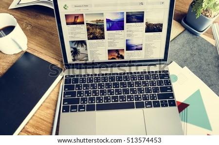 Laptop Blogging Share Social Media Concept