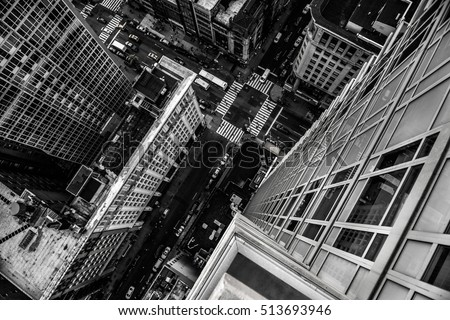 Top view from the skyscraper to city street in Manhattan Midtown in New York City #513693946