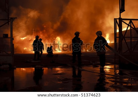 Silhouette of firefighters #51374623