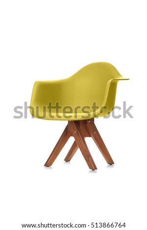 Modern Chair with wooden legs isolated on white background #513866764