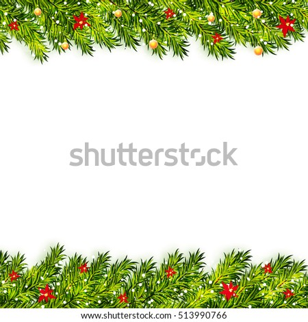 Christmas tree branches frame vector #513990766