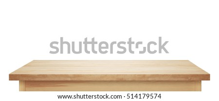Light wooden tabletop. Table on white background. Royalty-Free Stock Photo #514179574