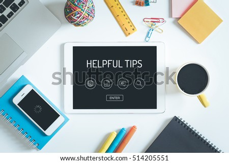 HELPFUL TIPS Concept on Tablet PC Screen with Icons