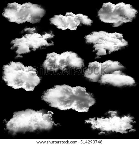 White clouds shapes isolated over black background illustration set, 3D rendering, high resolution. Realistic clouds illustration #514293748