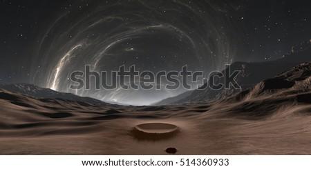 Mercury planet landscape. Sunset on Mercury with sun corona. 3D illustration
